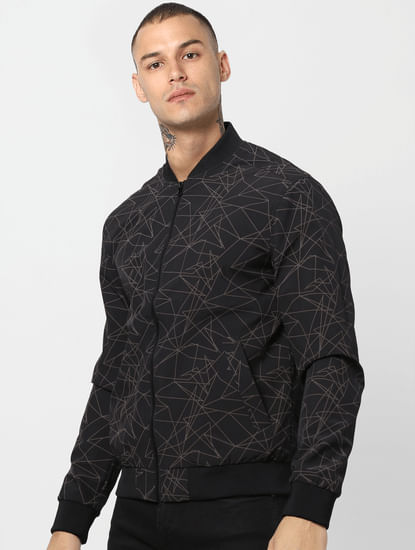 Black Geometric Print Bomber Jacket