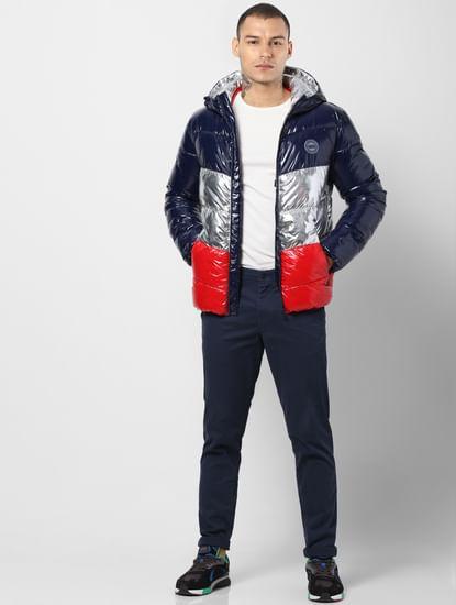 Blue Colourblocked Hooded Puffer Jacket