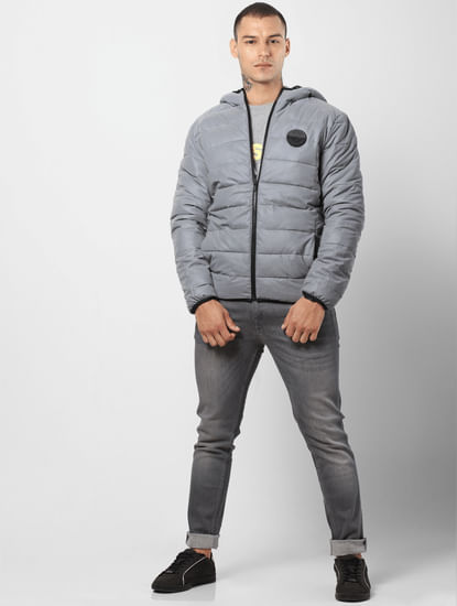 Grey Hooded Puffer Jacket