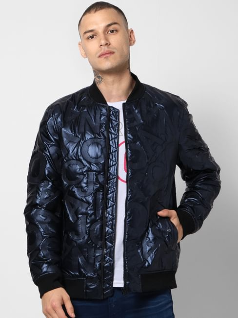 Blue Text Embossed Puffer Jacket