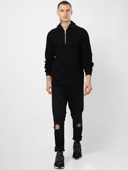 Black Ribbed High Neck Pullover