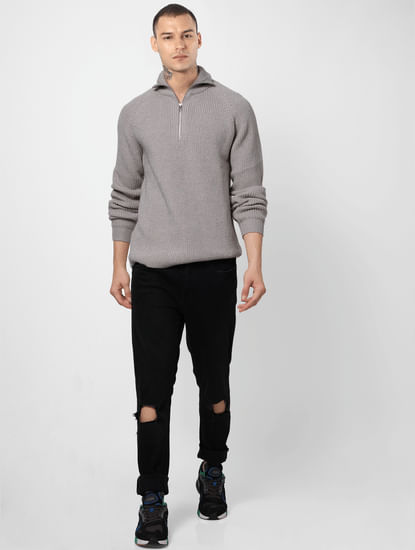 Grey Ribbed High Neck Pullover