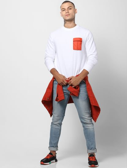 White Contrast Pocket Sweatshirt
