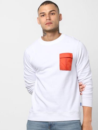 White Contrast Pocket Sweatshirt