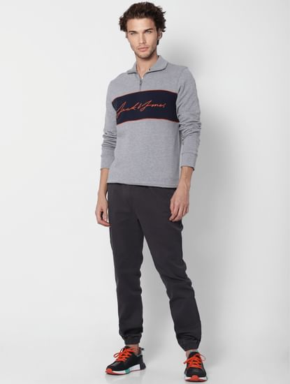 Grey Logo Print High Neck Sweatshirt