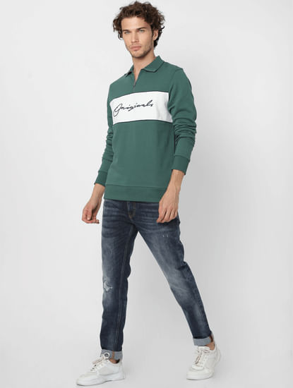 Green Logo Print High Neck Sweatshirt