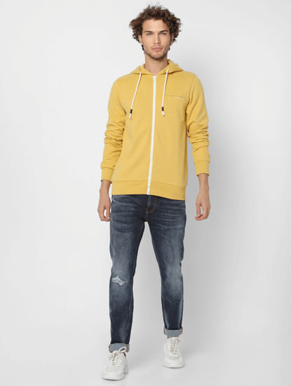 Yellow Logo Print Zip-Up Sweatshirt