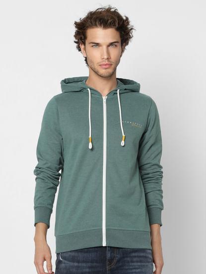 Green Logo Print Zip-Up Sweatshirt