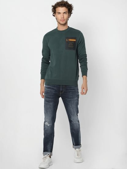 Green Mesh Detail Pocket Sweatshirt