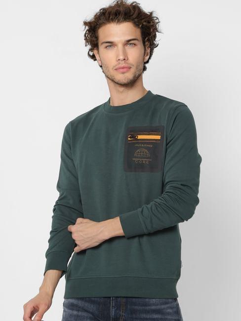 Green Mesh Detail Pocket Sweatshirt