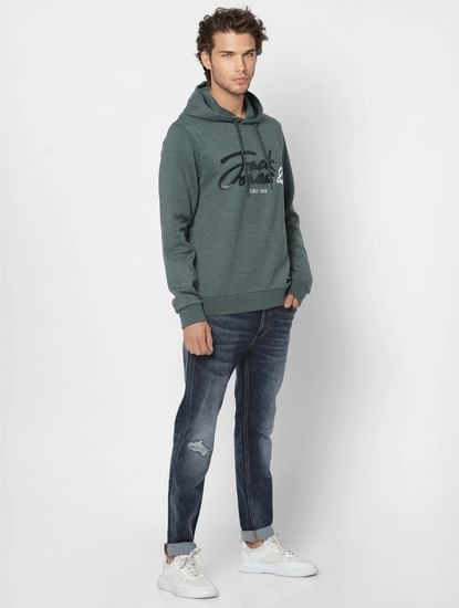 Green Logo Print Hooded Sweatshirt