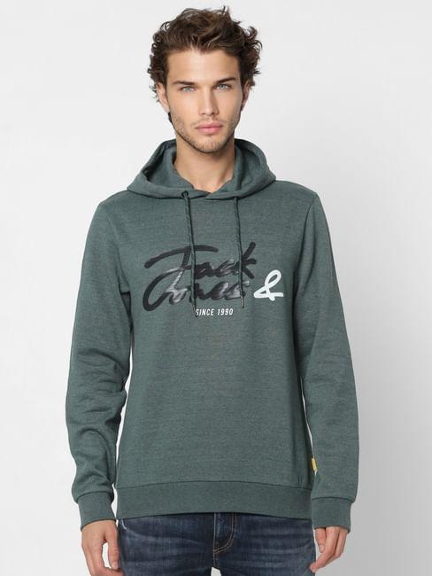 Green Logo Print Hooded Sweatshirt