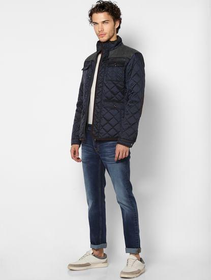 Blue Jacquard High Neck Jacket
