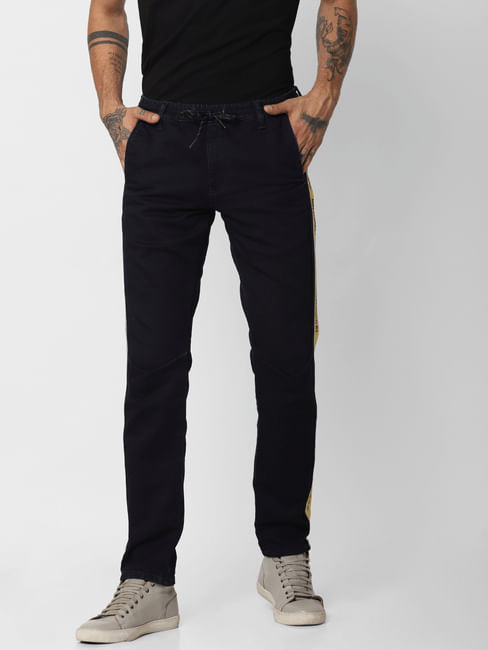 Blue Low Rise Indigo Knit Slim Jeans