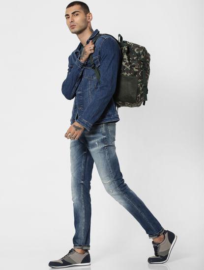 Green Camo Print Backpack