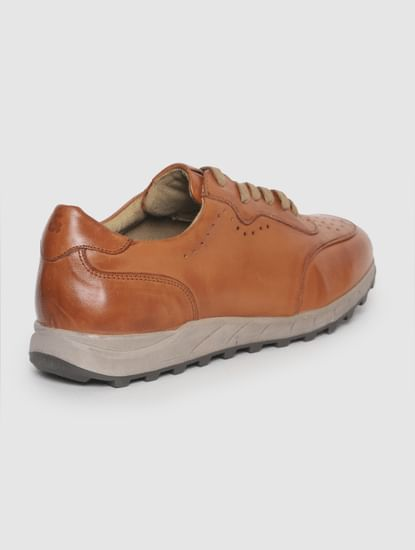 Tan Perforated Leather Sneakers