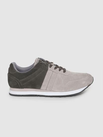 Grey Colourblocked Suede Sneakers