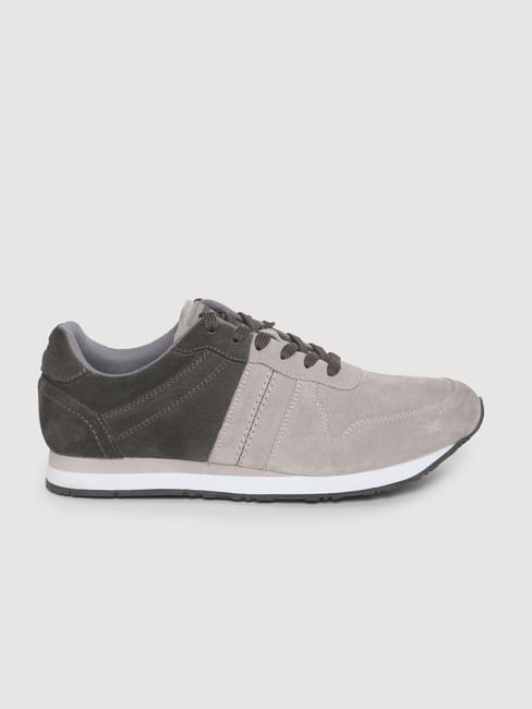 Grey Colourblocked Suede Sneakers