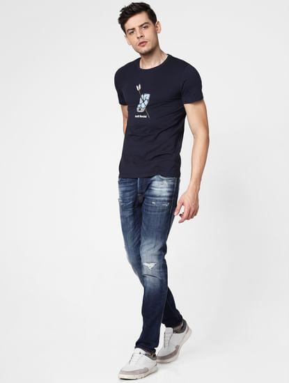 Dark Blue Distressed Ben Skinny Fit Jeans