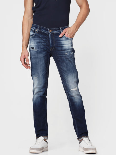 Dark Blue Distressed Ben Skinny Fit Jeans