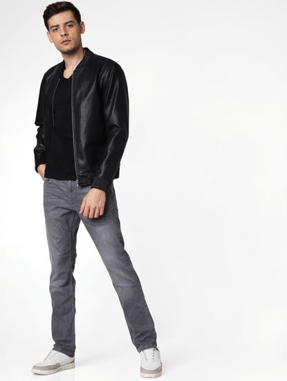 Grey Low Rise Clark Regular Fit Jeans