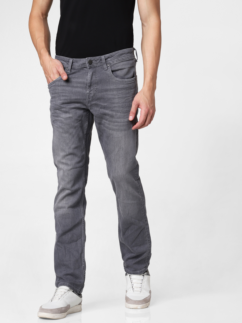 Grey Low Rise Clark Regular Fit Jeans