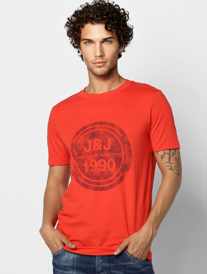 Red Logo Print Crew Neck T-shirt