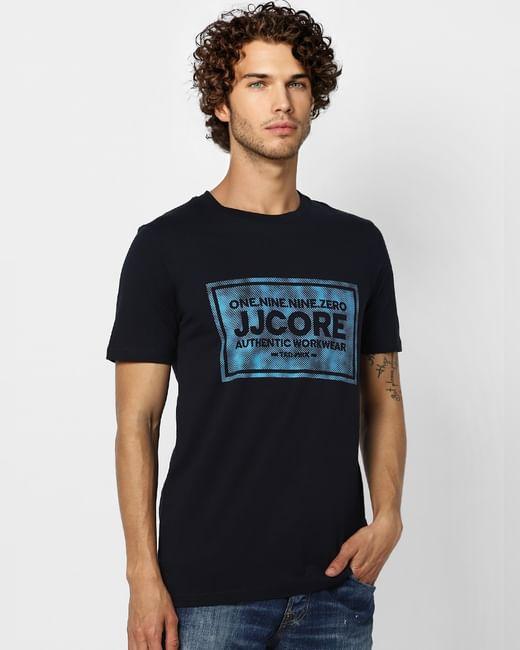 Navy Blue Logo Print Crew Neck T-shirt