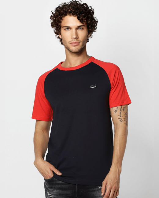 Navy Blue Colourblocked Crew Neck T-shirt