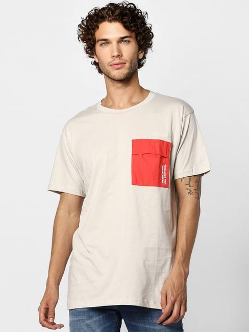 Beige Patch Pocket Crew Neck T-shirt