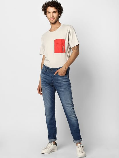 Blue Low Rise Washed Glenn Slim Fit Jeans