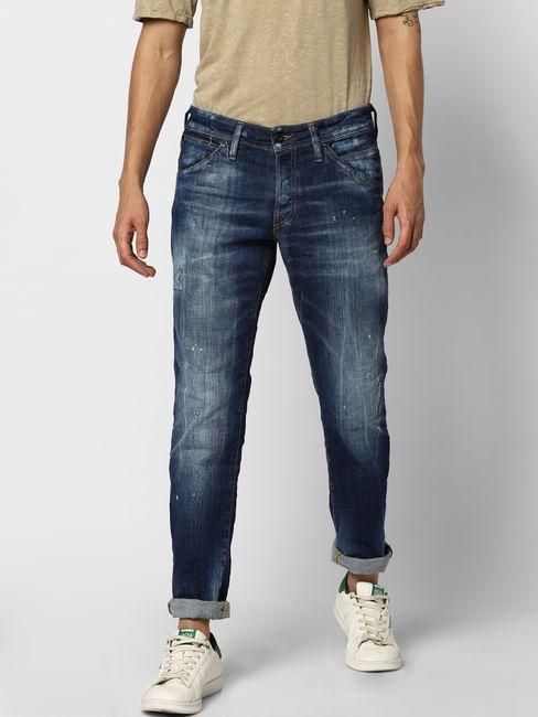 Blue Low Rise Mildly Distressed Glenn Slim Jeans