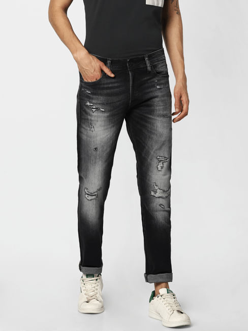 Dark Grey Low Rise Distressed Glenn Slim Jeans