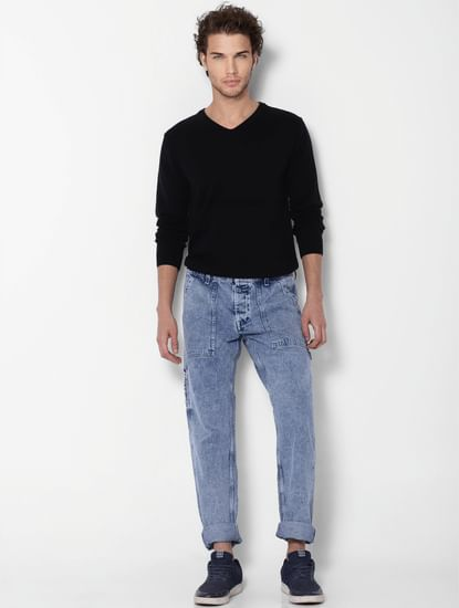 Blue Low Rise Acid Washed Mike Comfort Fit Utility Jeans
