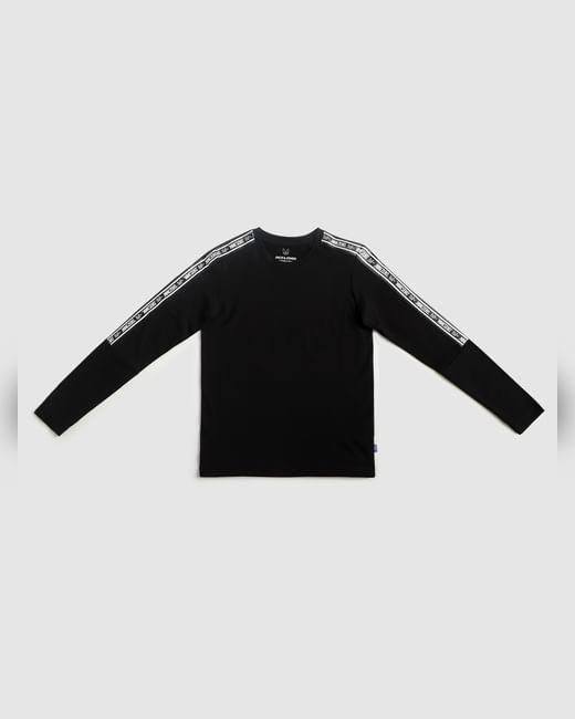 Boys Black Tape Detail Crew Neck T-shirt