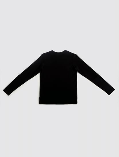 Junior Black Tape Detail Crew Neck T-shirt