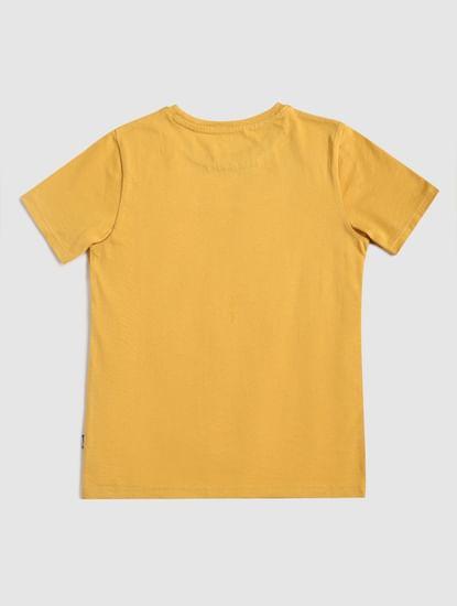 Junior Yellow Logo Print Crew Neck T-shirt
