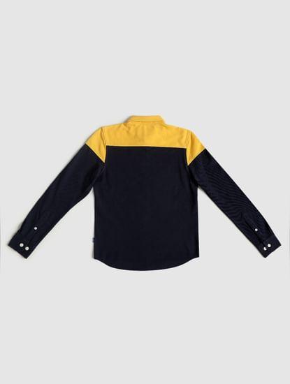 Junior Yellow Colourblocked Full Sleeves Shirt