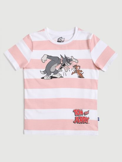 Junior X Tom & Jerry Pink Striped T-shirt