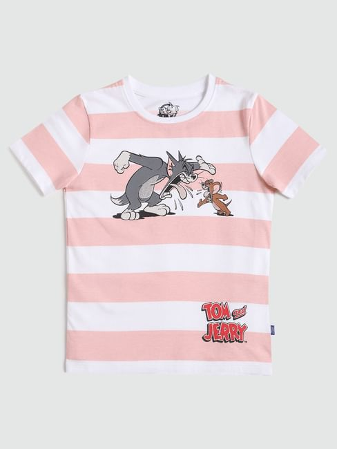 Boys X Tom & Jerry Pink Striped T-shirt