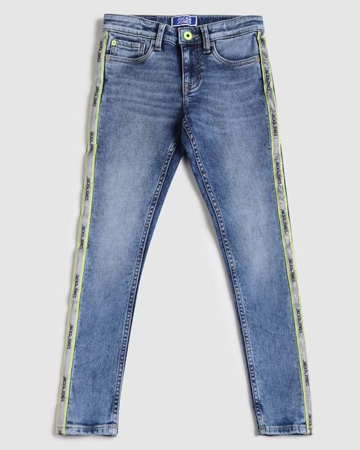 Boys Blue Low Rise Tape Detail Liam Skinny Jeans