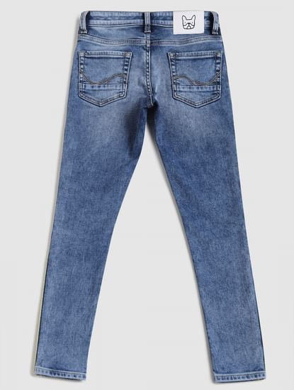 Junior Blue Low Rise Tape Detail Liam Skinny Jeans