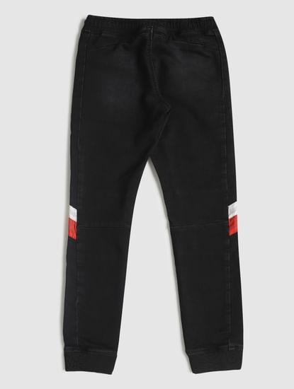 Junior Black Low Rise Drawstring Tim Slim Jeans