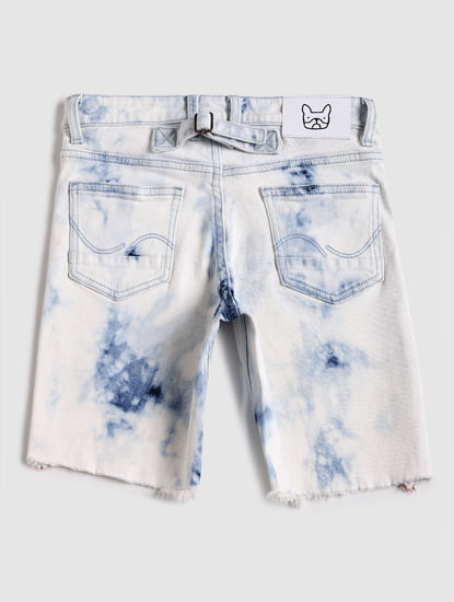 Junior Blue Mid Rise Denim Shorts