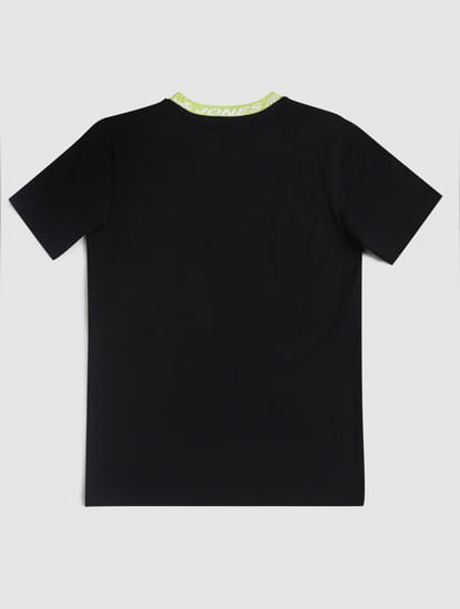 Junior Black Logo Print Crew Neck T-shirt