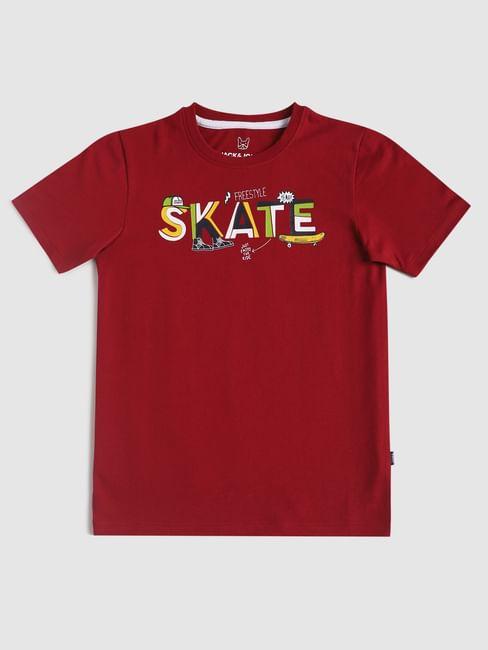 Junior Maroon Text Print Crew Neck T-shirt