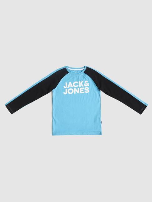 Boys Blue Colourblocked Crew Neck T-shirt