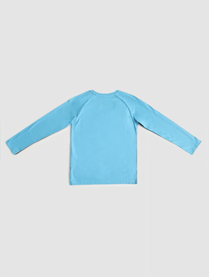 Junior Blue Colourblocked Crew Neck T-shirt