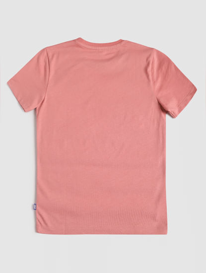 Junior Pink Graphic Print Crew Neck T-shirt