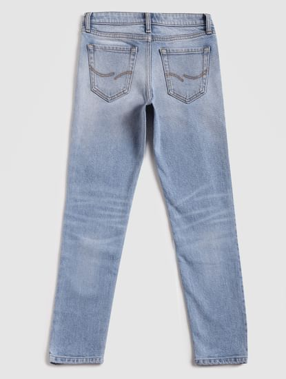 Junior Light Blue Low Rise Distressed Tim Slim Jeans